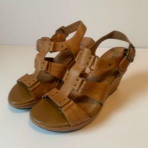 Clark's Cognac Wedge Sandals
